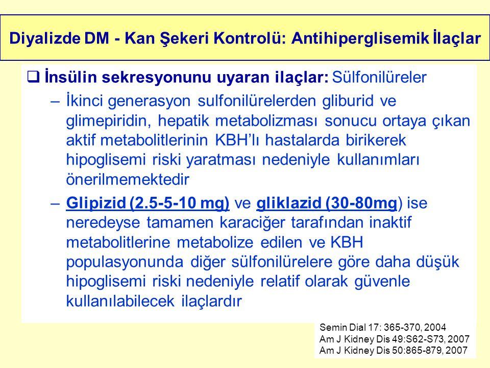 Diyalizde DM - Kan Şekeri Kontrolü: Antihiperglisemik İlaçlar  İnsülin sekresyonunu uyaran ilaçlar: Sülfonilüreler –İkinci generasyon sulfonilürelerd