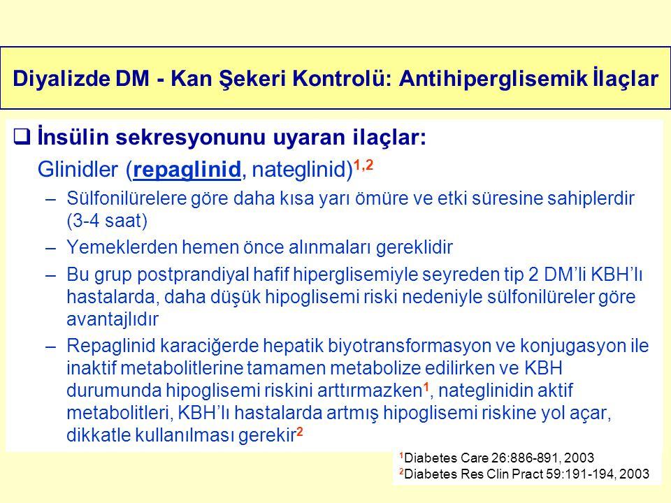Diyalizde DM - Kan Şekeri Kontrolü: Antihiperglisemik İlaçlar  İnsülin sekresyonunu uyaran ilaçlar: Glinidler (repaglinid, nateglinid) 1,2 –Sülfonilü