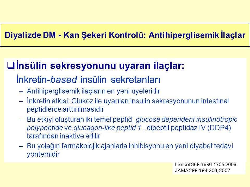 Diyalizde DM - Kan Şekeri Kontrolü: Antihiperglisemik İlaçlar  İnsülin sekresyonunu uyaran ilaçlar: İnkretin-based insülin sekretanları –Antihipergli