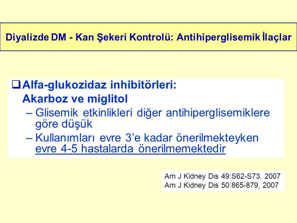 Diyalizde DM - Kan Şekeri Kontrolü: Antihiperglisemik İlaçlar  Alfa-glukozidaz inhibitörleri: Akarboz ve miglitol –Glisemik etkinlikleri diğer antihi