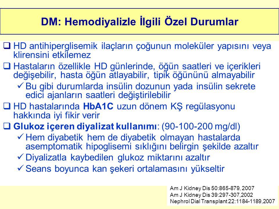 DM: Hemodiyalizle İlgili Özel Durumlar  HD antihiperglisemik ilaçların çoğunun moleküler yapısını veya klirensini etkilemez  Hastaların özellikle HD