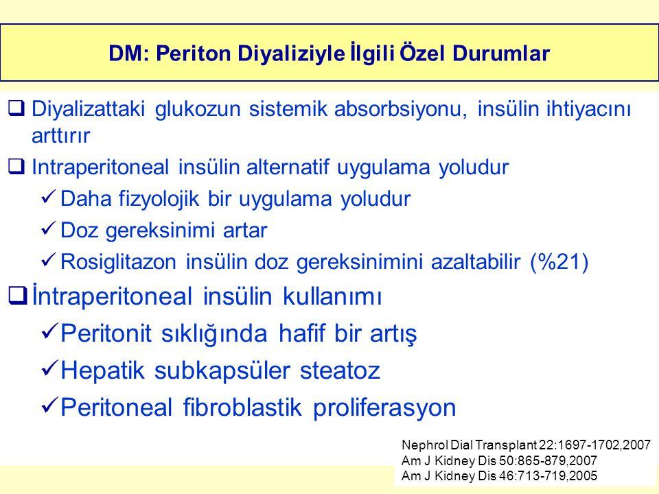 DM: Periton Diyaliziyle İlgili Özel Durumlar  Diyalizattaki glukozun sistemik absorbsiyonu, insülin ihtiyacını arttırır  Intraperitoneal insülin alt