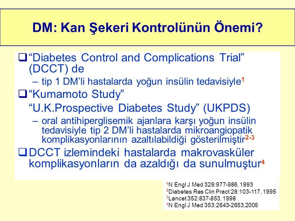 """DM: Kan Şekeri Kontrolünün Önemi?  """"Diabetes Control and Complications Trial"""" (DCCT) de –tip 1 DM'li hastalarda yoğun insülin tedavisiyle 1  """"Kumamo"""