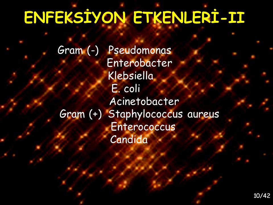 10/42 ENFEKSİYON ETKENLERİ-II Gram (-) Pseudomonas Enterobacter Klebsiella E. coli Acinetobacter Gram (+) Staphylococcus aureus Enterococcus Candida