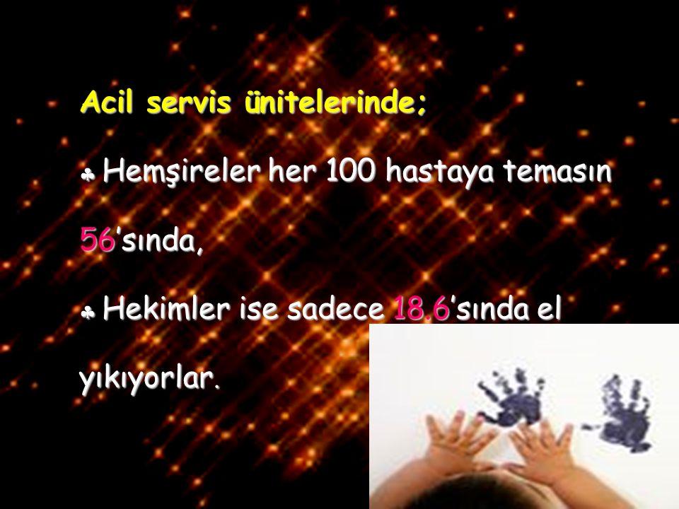 21/42 Acil servis ünitelerinde;  Hemşireler her 100 hastaya temasın 56'sında,  Hekimler ise sadece 18.6'sında el yıkıyorlar.
