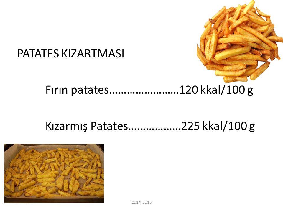 PATATES KIZARTMASI Fırın patates……………………120 kkal/100 g Kızarmış Patates………………225 kkal/100 g 2014-2015