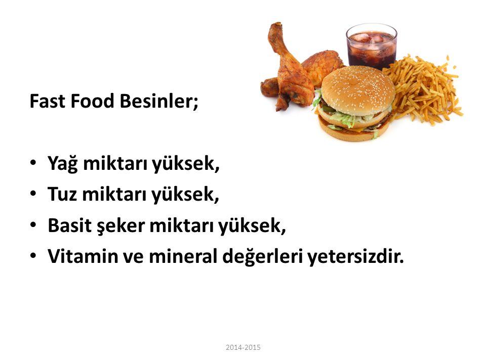 Fast Food Besinler; Yağ miktarı yüksek, Tuz miktarı yüksek, Basit şeker miktarı yüksek, Vitamin ve mineral değerleri yetersizdir. 2014-2015