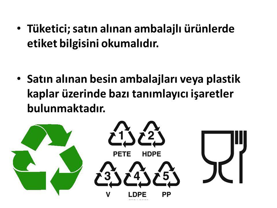 Tüketici; satın alınan ambalajlı ürünlerde etiket bilgisini okumalıdır. Satın alınan besin ambalajları veya plastik kaplar üzerinde bazı tanımlayıcı i