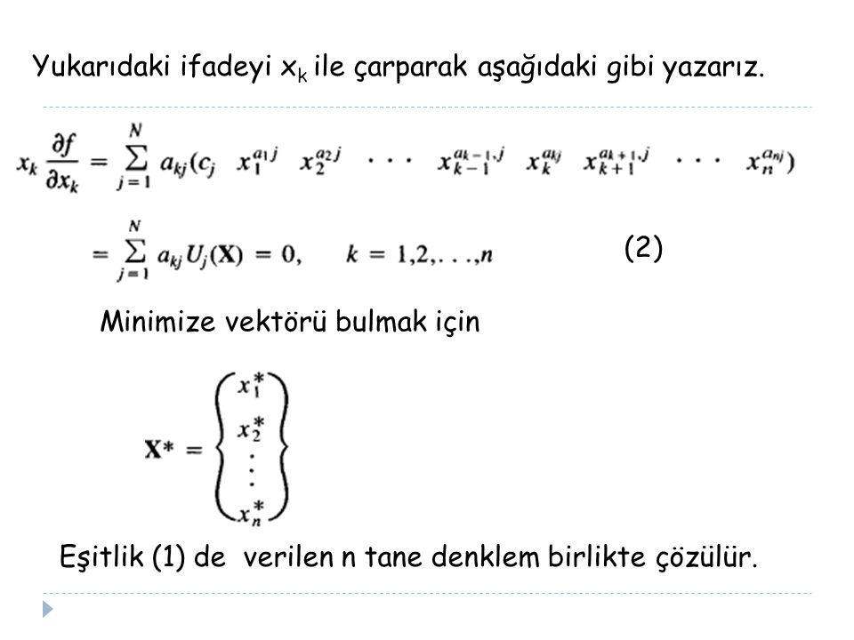 Yukarıdaki ifadeyi x k ile çarparak aşağıdaki gibi yazarız. Minimize vektörü bulmak için Eşitlik (1) de verilen n tane denklem birlikte çözülür. (2)