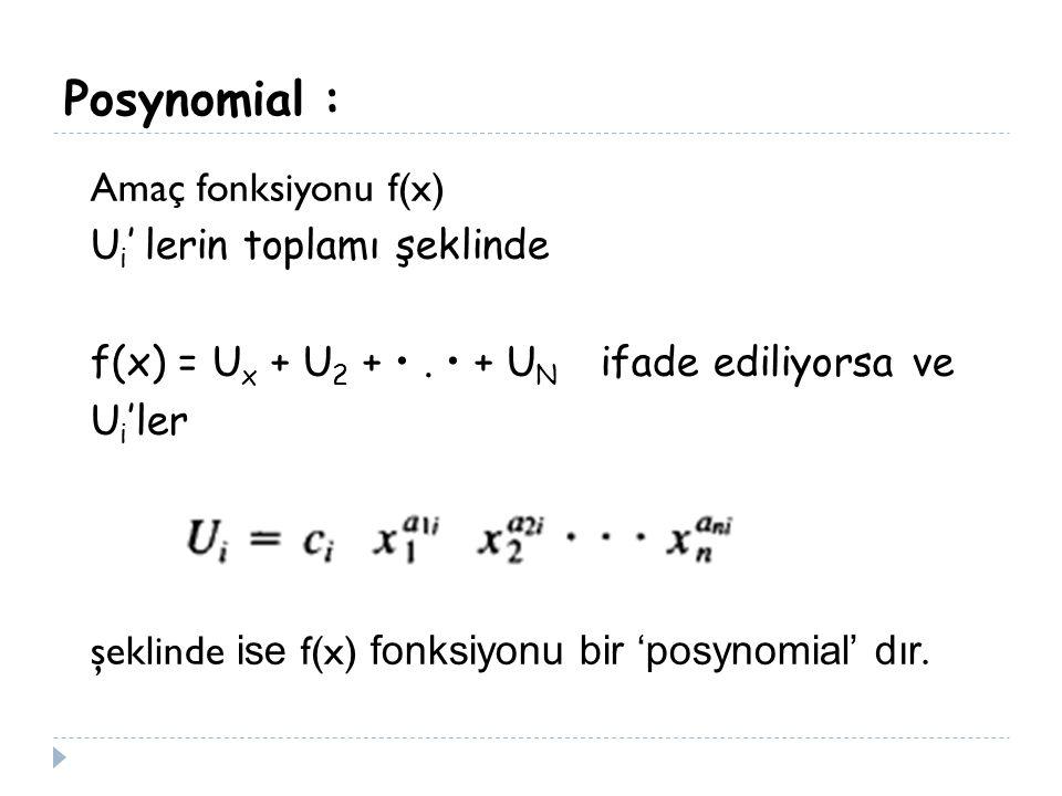 Posynomial : Amaç fonksiyonu f(x) U i ' lerin toplamı şeklinde f(x) = U x + U 2 +. + U N ifade ediliyorsa ve U i 'ler şeklinde ise f(x) fonksiyonu bir