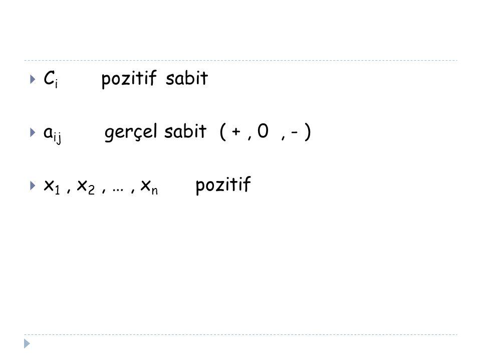  C i pozitif sabit  a ij gerçel sabit ( +, 0, - )  x 1, x 2, …, x n pozitif