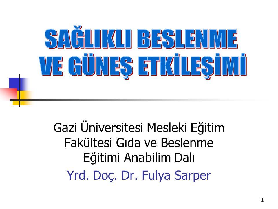 1 Gazi Üniversitesi Mesleki Eğitim Fakültesi Gıda ve Beslenme Eğitimi Anabilim Dalı Yrd. Doç. Dr. Fulya Sarper