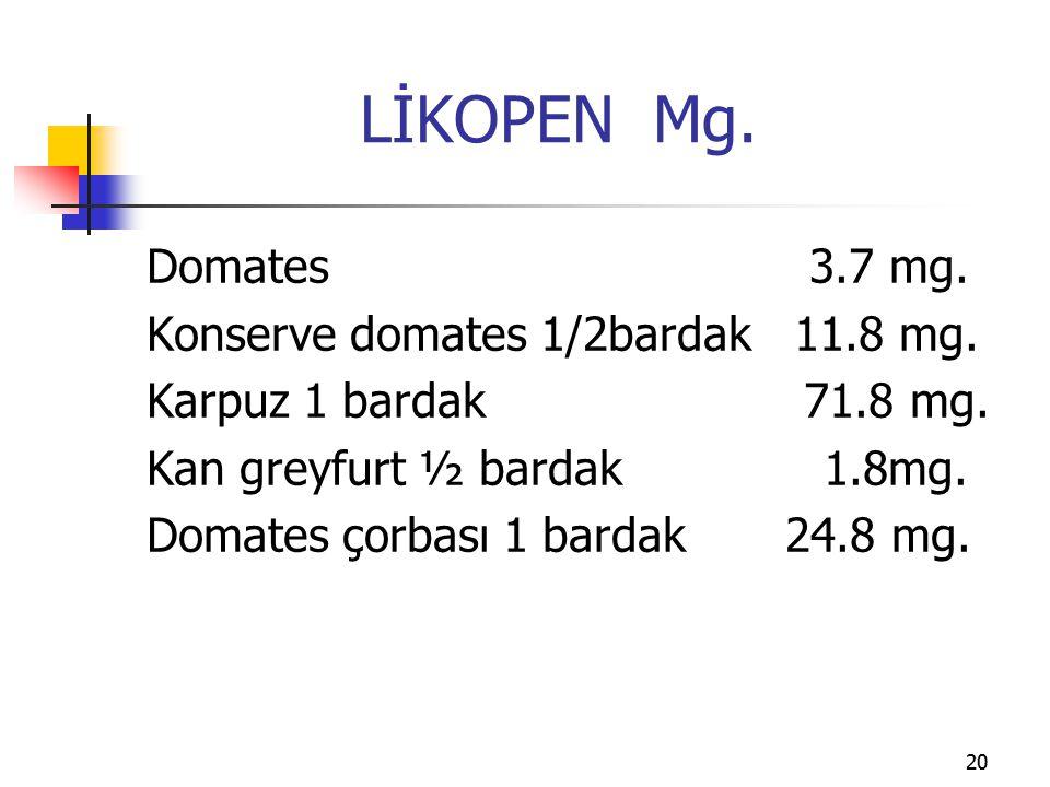 20 LİKOPEN Mg.Domates 3.7 mg. Konserve domates 1/2bardak 11.8 mg.