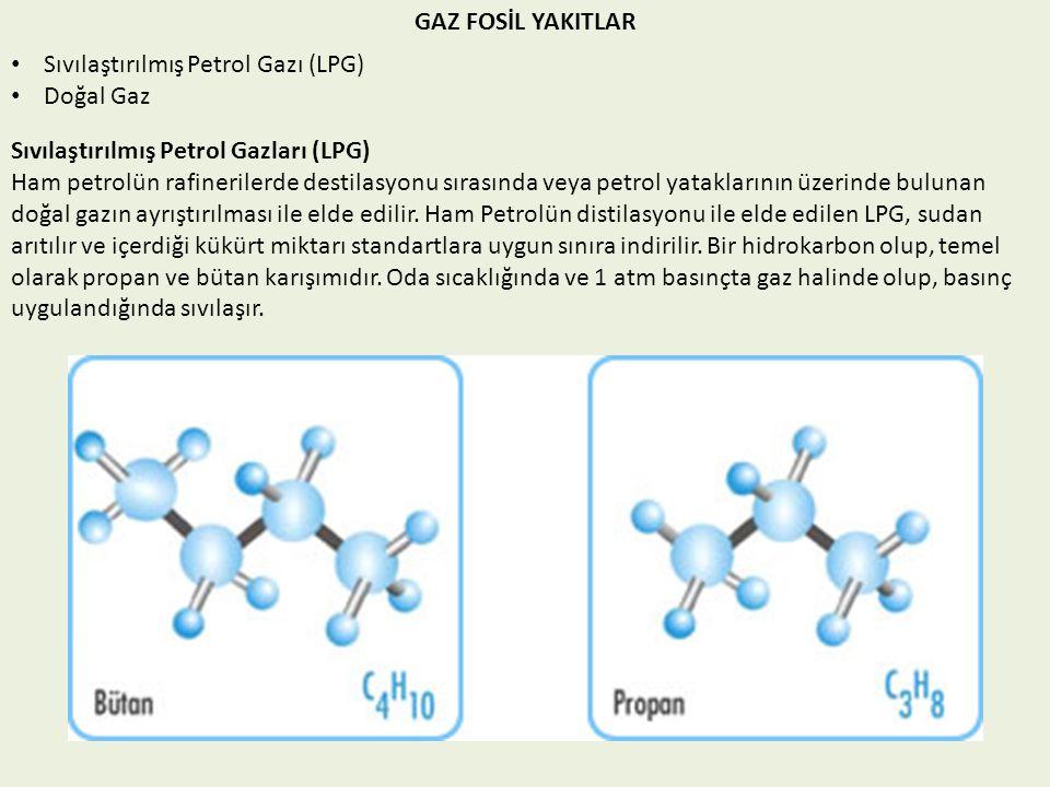 GAZ FOSİL YAKITLAR Sıvılaştırılmış Petrol Gazı (LPG) Doğal Gaz Sıvılaştırılmış Petrol Gazları (LPG) Ham petrolün rafinerilerde destilasyonu sırasında