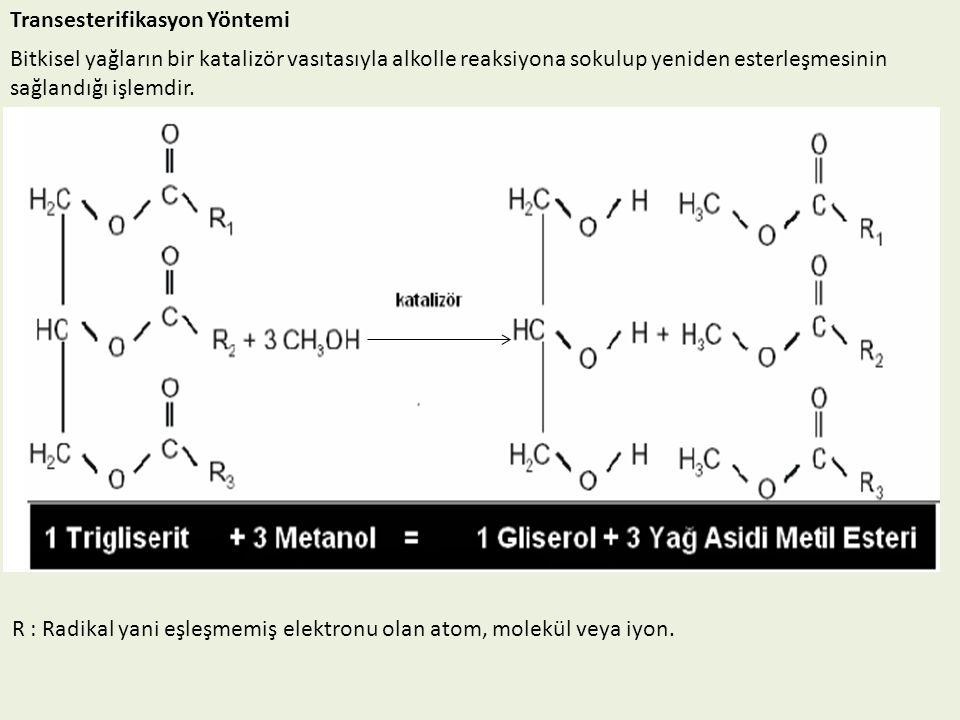 Transesterifikasyon Yöntemi Bitkisel yağların bir katalizör vasıtasıyla alkolle reaksiyona sokulup yeniden esterleşmesinin sağlandığı işlemdir. R : Ra