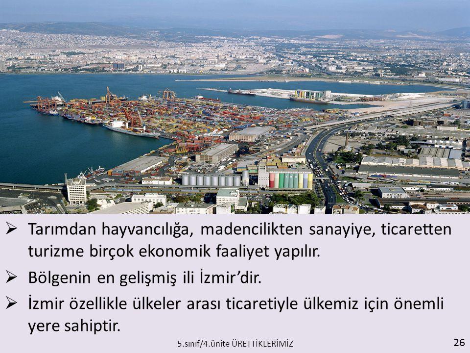  Tarımdan hayvancılığa, madencilikten sanayiye, ticaretten turizme birçok ekonomik faaliyet yapılır.  Bölgenin en gelişmiş ili İzmir'dir.  İzmir öz