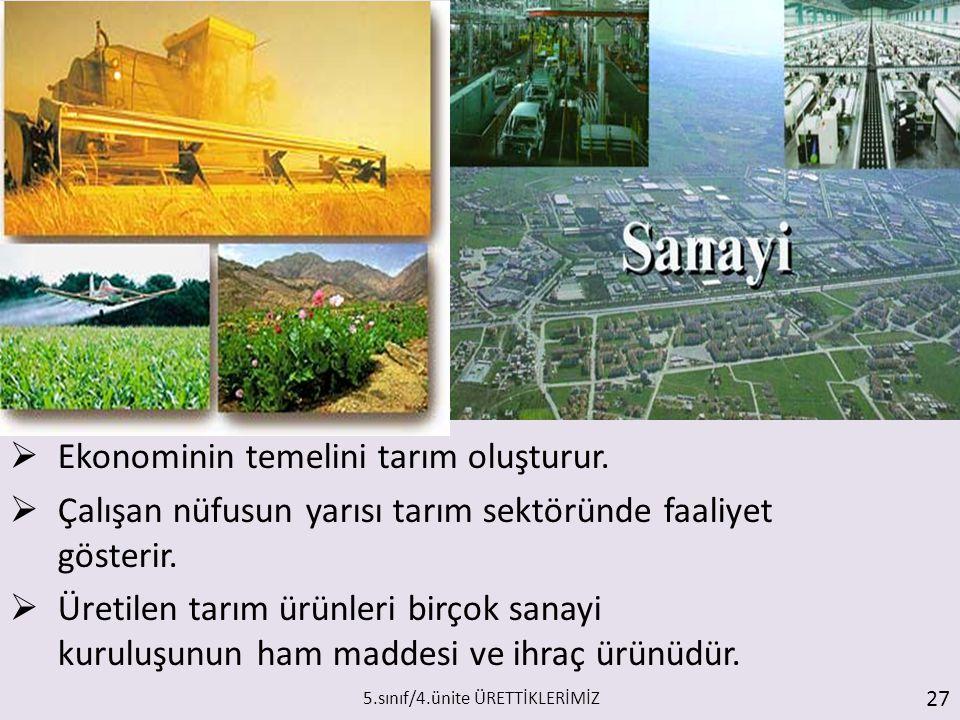  Ekonominin temelini tarım oluşturur.  Çalışan nüfusun yarısı tarım sektöründe faaliyet gösterir.  Üretilen tarım ürünleri birçok sanayi kuruluşunu