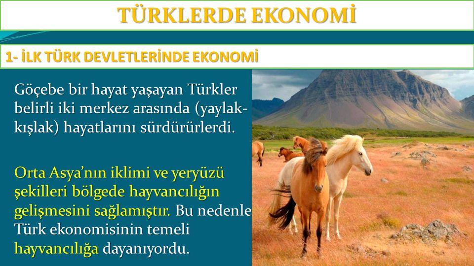 Göçebe bir hayat yaşayan Türkler belirli iki merkez arasında (yaylak- kışlak) hayatlarını sürdürürlerdi. Orta Asya'nın iklimi ve yeryüzü şekilleri böl