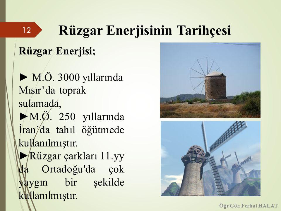 12 Rüzgar Enerjisinin Tarihçesi Rüzgar Enerjisi; ► M.Ö.