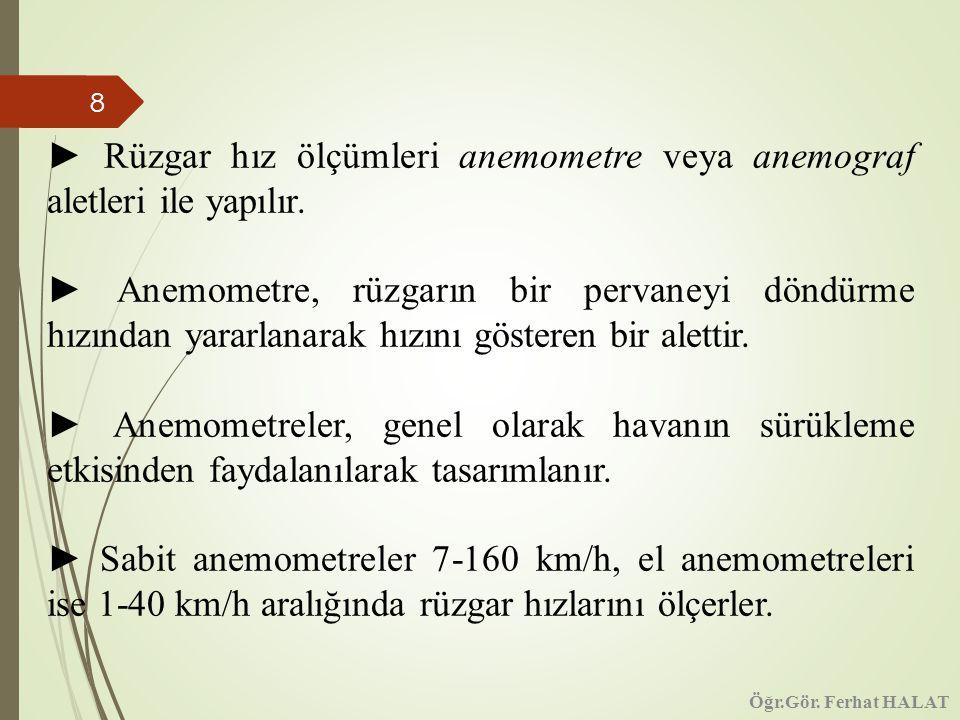 8 ► Rüzgar hız ölçümleri anemometre veya anemograf aletleri ile yapılır.