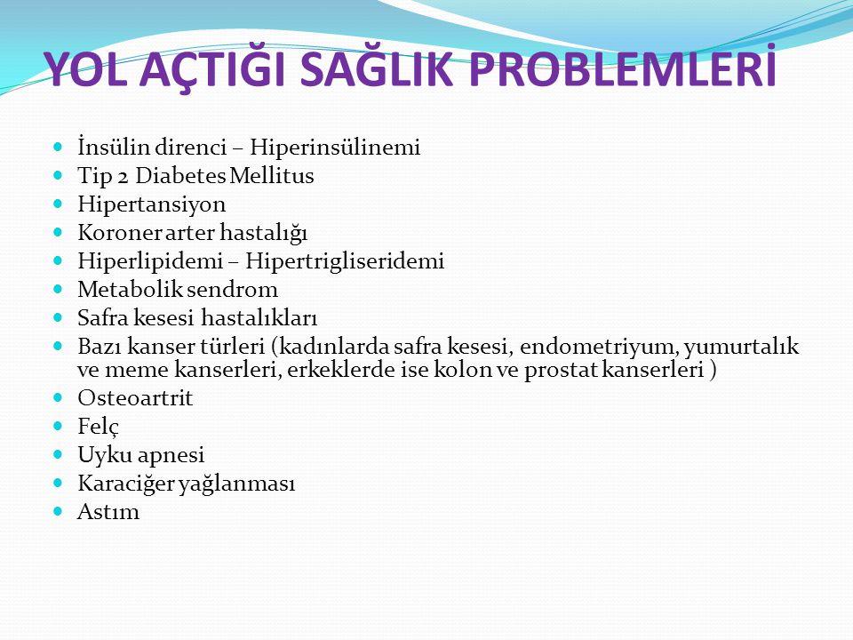 YOL AÇTIĞI SAĞLIK PROBLEMLERİ İnsülin direnci – Hiperinsülinemi Tip 2 Diabetes Mellitus Hipertansiyon Koroner arter hastalığı Hiperlipidemi – Hipertri