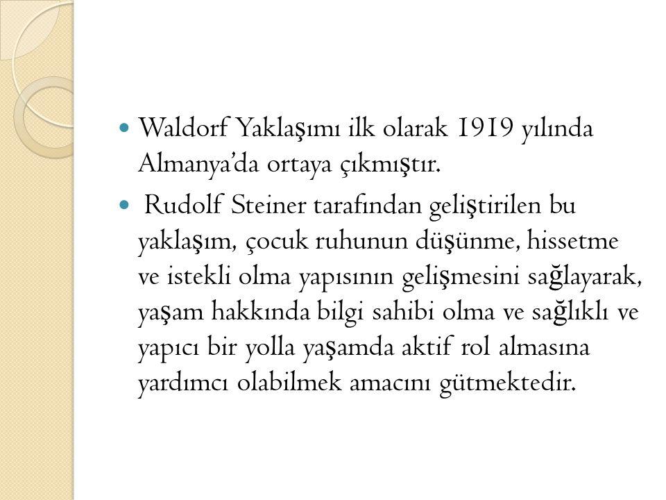 Waldorf Yakla ş ımı ilk olarak 1919 yılında Almanya'da ortaya çıkmı ş tır. Rudolf Steiner tarafından geli ş tirilen bu yakla ş ım, çocuk ruhunun dü ş