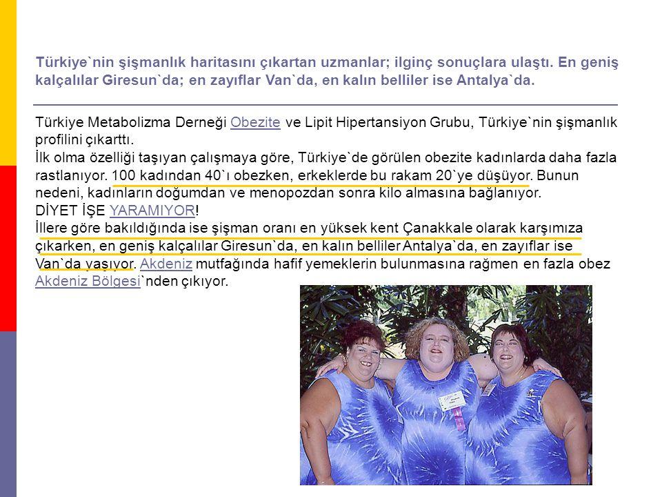 Türkiye`nin şişmanlık haritasını çıkartan uzmanlar; ilginç sonuçlara ulaştı.