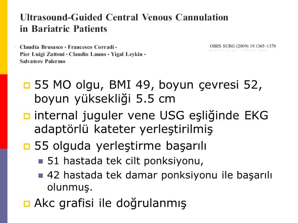  55 MO olgu, BMI 49, boyun çevresi 52, boyun yüksekliği 5.5 cm  internal juguler vene USG eşliğinde EKG adaptörlü kateter yerleştirilmiş  55 olguda yerleştirme başarılı 51 hastada tek cilt ponksiyonu, 42 hastada tek damar ponksiyonu ile başarılı olunmuş.