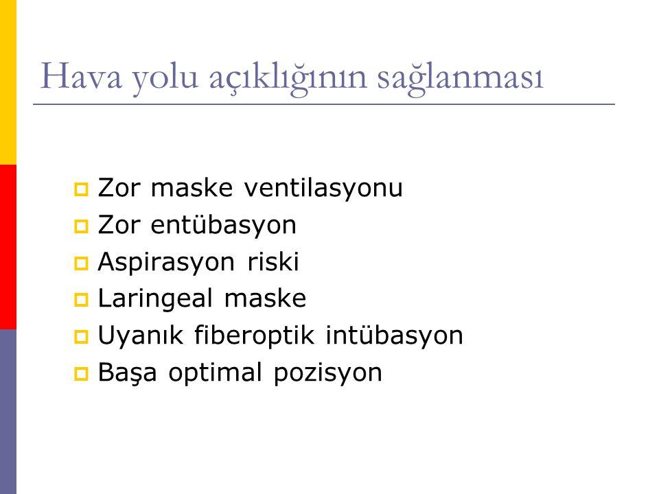 Hava yolu açıklığının sağlanması  Zor maske ventilasyonu  Zor entübasyon  Aspirasyon riski  Laringeal maske  Uyanık fiberoptik intübasyon  Başa optimal pozisyon
