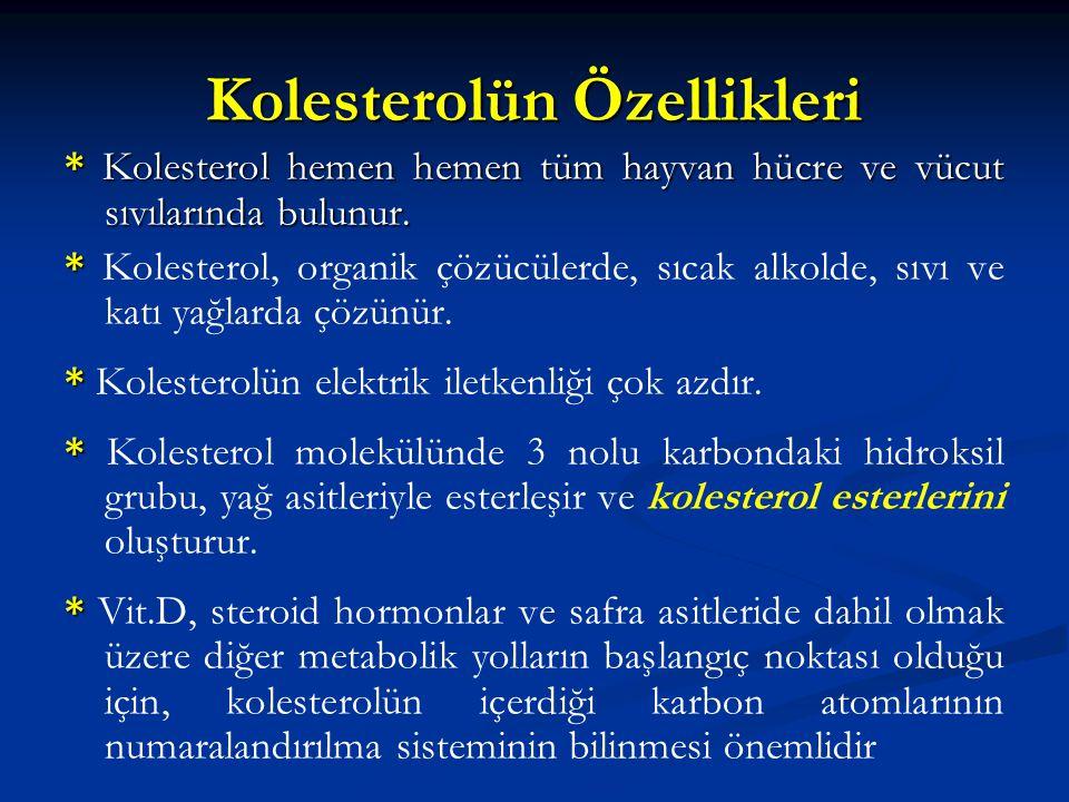 Kolesterolün Özellikleri * Kolesterol hemen hemen tüm hayvan hücre ve vücut sıvılarında bulunur. * * Kolesterol, organik çözücülerde, sıcak alkolde, s