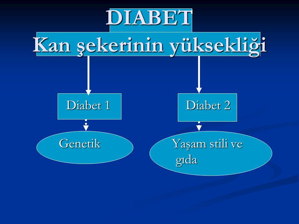 DIABET Kan şekerinin yüksekliği Diabet 1Diabet 2 Genetik Yaşam stili ve gıda Genetik Yaşam stili ve gıda