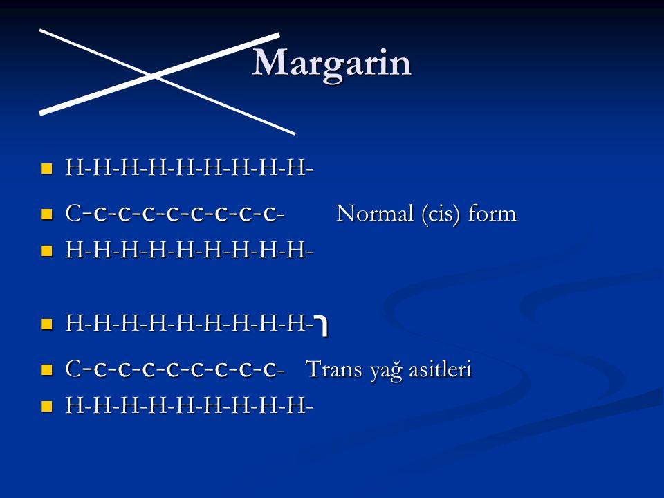 Margarin H-H-H-H-H-H-H-H-H- H-H-H-H-H-H-H-H-H- C - c-c-c-c-c-c-c-c - Normal (cis) form C - c-c-c-c-c-c-c-c - Normal (cis) form H-H-H-H-H-H-H-H-H- H-H-H-H-H-H-H-H-H- H-H-H-H-H-H-H-H-H- ך H-H-H-H-H-H-H-H-H- ך C - c-c-c-c-c-c-c-c -Trans yağ asitleri C - c-c-c-c-c-c-c-c -Trans yağ asitleri H-H-H-H-H-H-H-H-H- H-H-H-H-H-H-H-H-H-