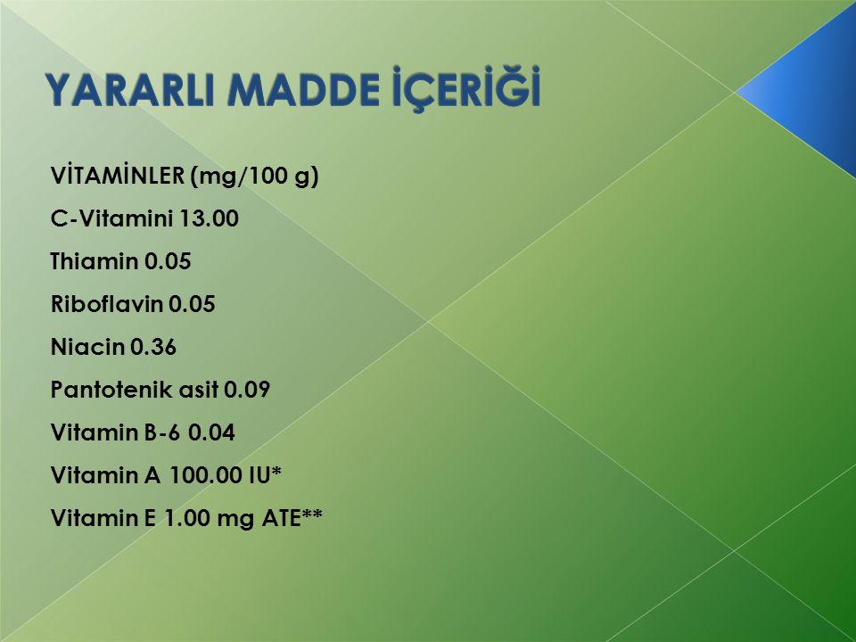 VİTAMİNLER (mg/100 g) C-Vitamini 13.00 Thiamin 0.05 Riboflavin 0.05 Niacin 0.36 Pantotenik asit 0.09 Vitamin B-6 0.04 Vitamin A 100.00 IU* Vitamin E 1
