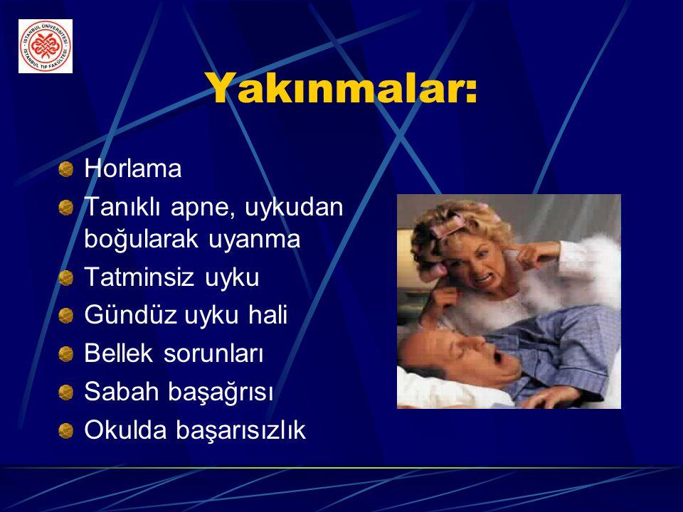 Tanımlar-3 u Apne İndeksi(Aİ): Uyku sırasında saatteki apne sayısıdır u Apne Hipopne İndeksi(AHİ): Uyku sırasında saatteki apne ve hipopnelerin sayısı
