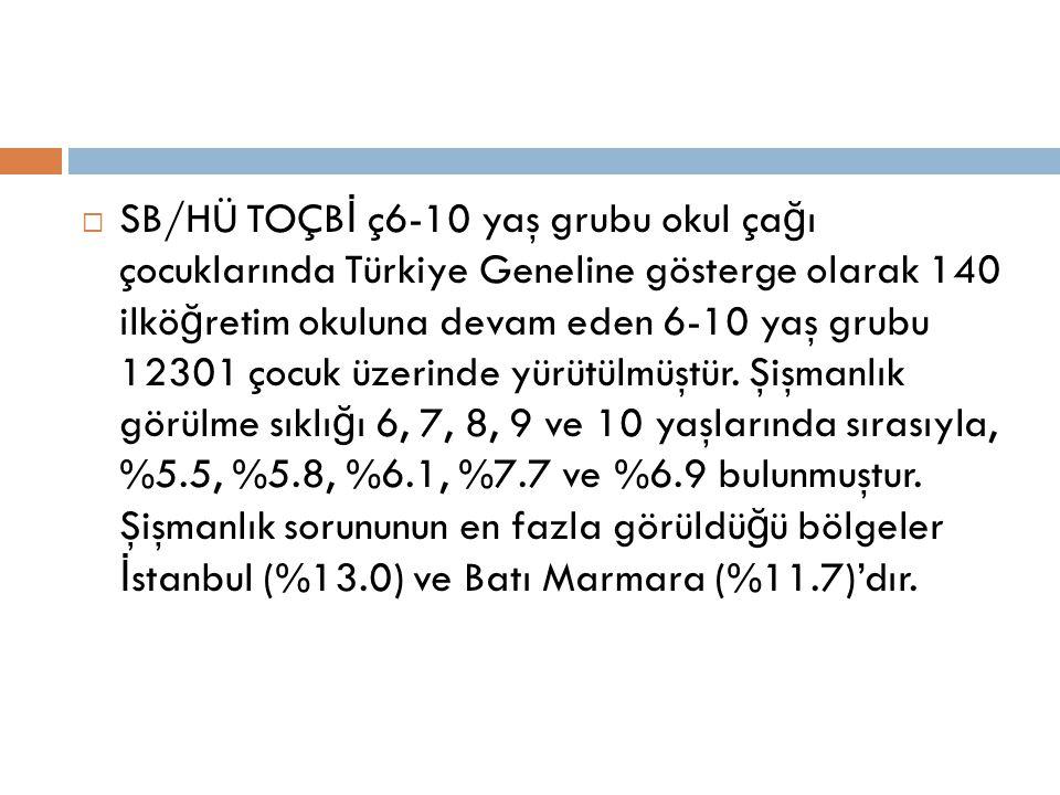  SB/HÜ TOÇB İ ç6-10 yaş grubu okul ça ğ ı çocuklarında Türkiye Geneline gösterge olarak 140 ilkö ğ retim okuluna devam eden 6-10 yaş grubu 12301 çocu