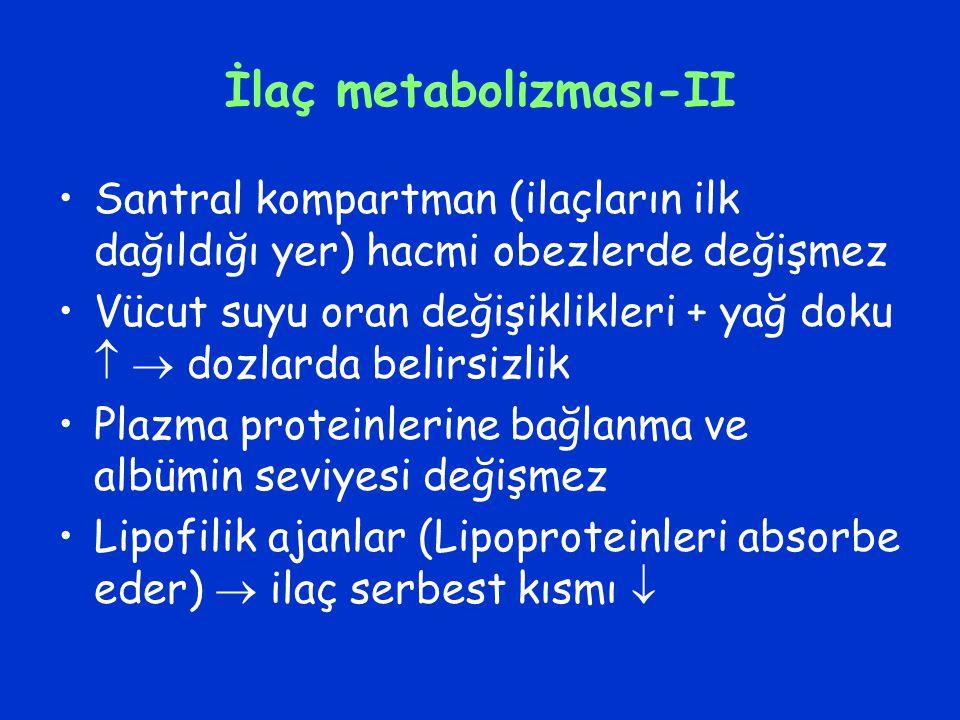 İlaç metabolizması-II Santral kompartman (ilaçların ilk dağıldığı yer) hacmi obezlerde değişmez Vücut suyu oran değişiklikleri + yağ doku   dozlarda