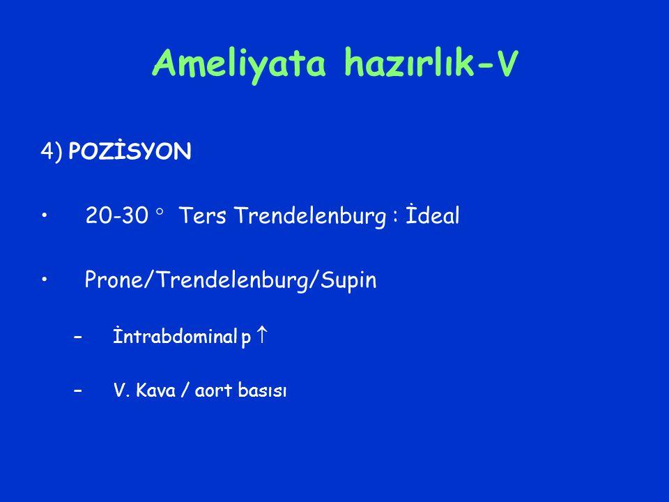 Ameliyata hazırlık- V 4) POZİSYON 20-30  Ters Trendelenburg : İdeal Prone/Trendelenburg/Supin –İntrabdominal p  –V. Kava / aort basısı