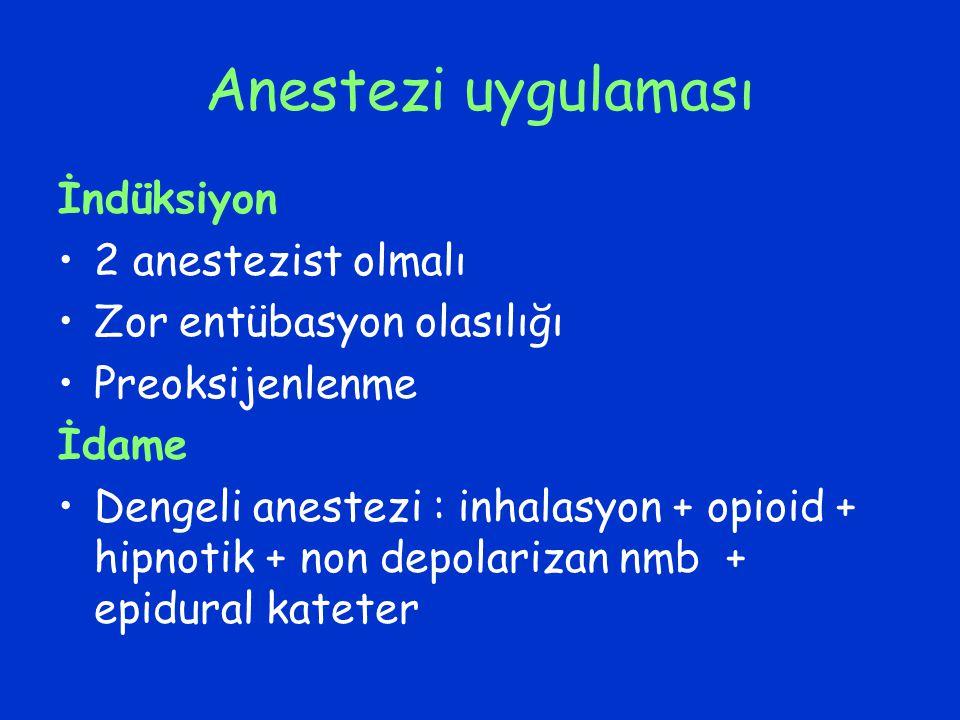 Anestezi uygulaması İndüksiyon 2 anestezist olmalı Zor entübasyon olasılığı Preoksijenlenme İdame Dengeli anestezi : inhalasyon + opioid + hipnotik +