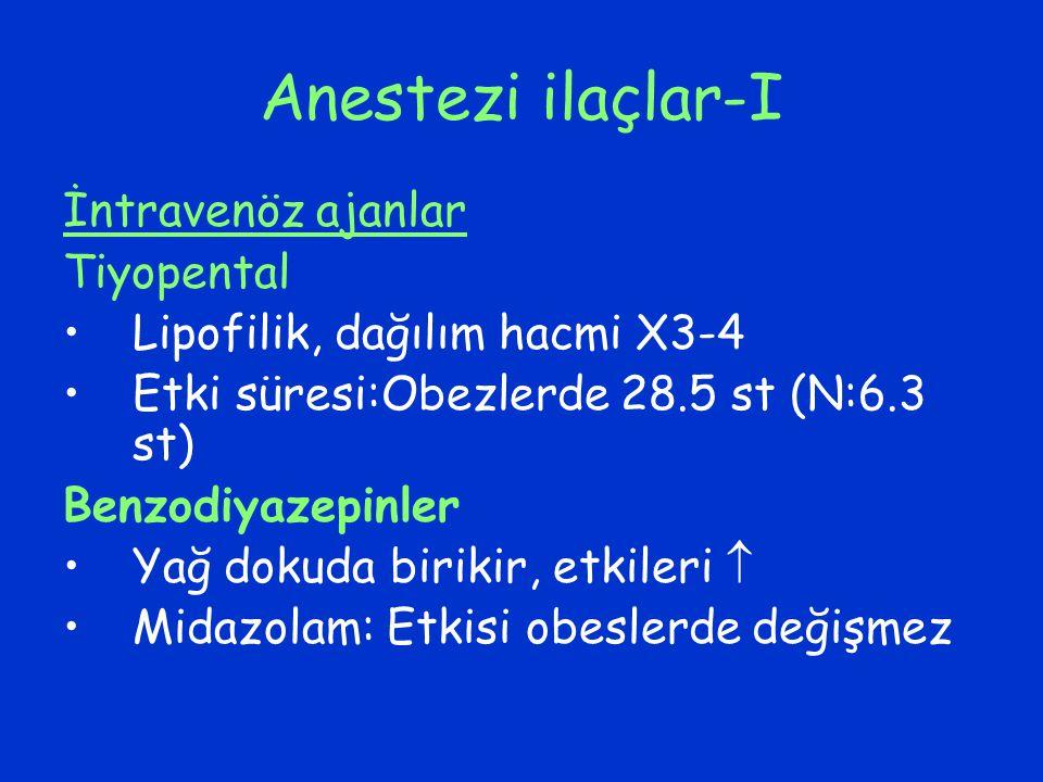 Anestezi ilaçlar-I İntravenöz ajanlar Tiyopental Lipofilik, dağılım hacmi X3-4 Etki süresi:Obezlerde 28.5 st (N:6.3 st) Benzodiyazepinler Yağ dokuda b