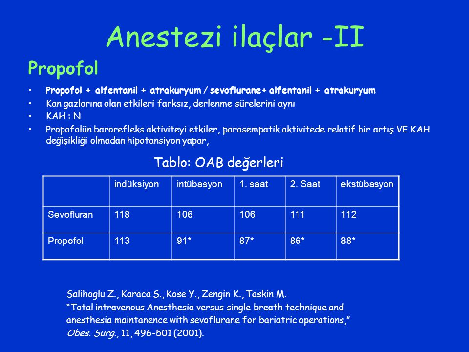 Anestezi ilaçlar -II Propofol + alfentanil + atrakuryum / sevoflurane+ alfentanil + atrakuryum Kan gazlarına olan etkileri farksız, derlenme sürelerin