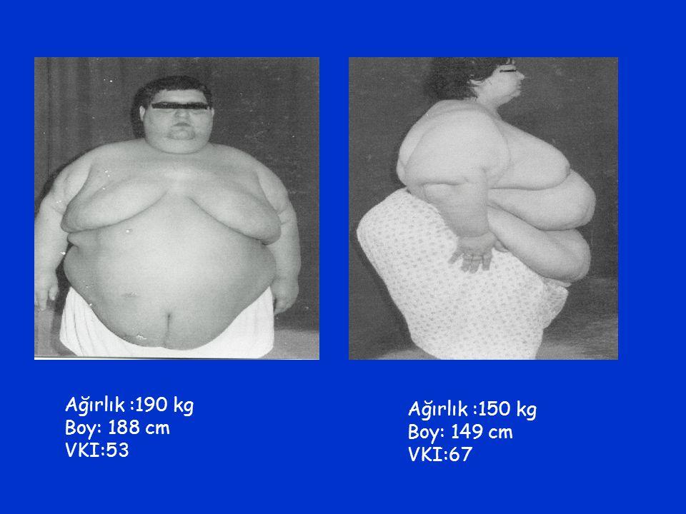 Ağırlık :190 kg Boy: 188 cm VKI:53 Ağırlık :150 kg Boy: 149 cm VKI:67