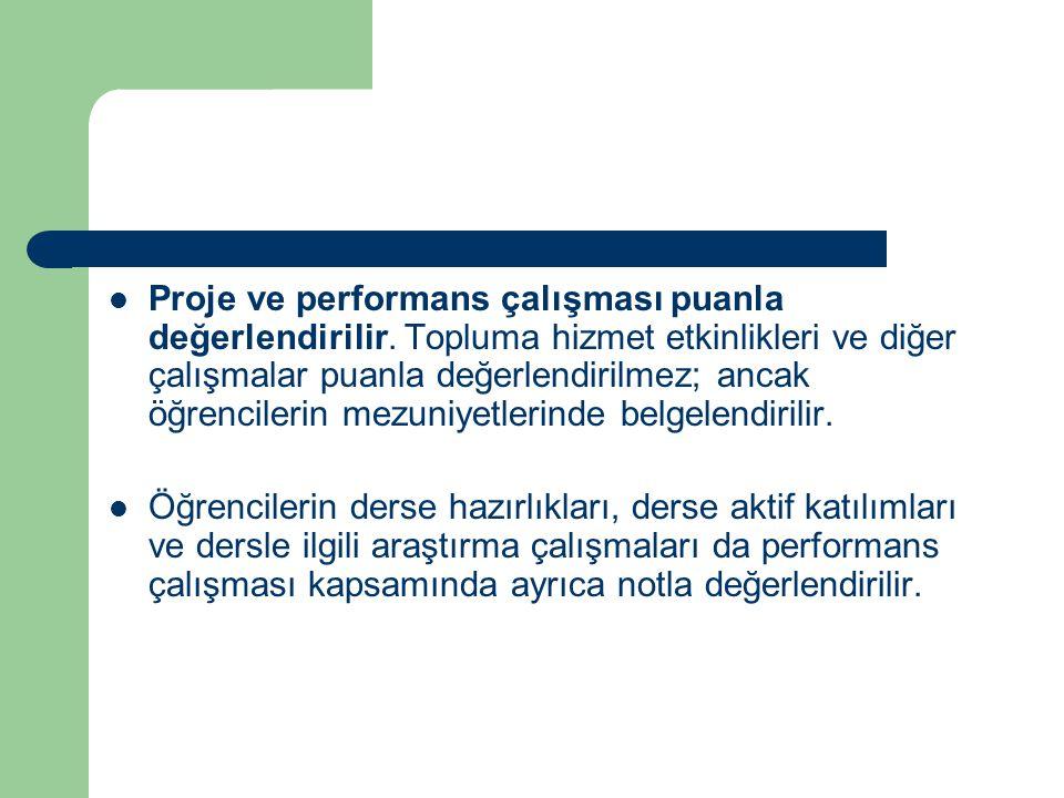 Proje ve performans çalışması puanla değerlendirilir.