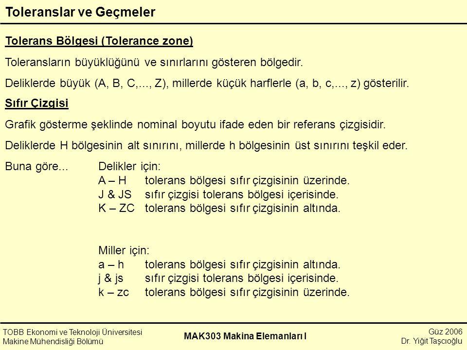 Güz 2006 Dr. Yiğit Taşcıoğlu MAK303 Makina Elemanları I Toleranslar ve Geçmeler TOBB Ekonomi ve Teknoloji Üniversitesi Makine Mühendisliği Bölümü Tole