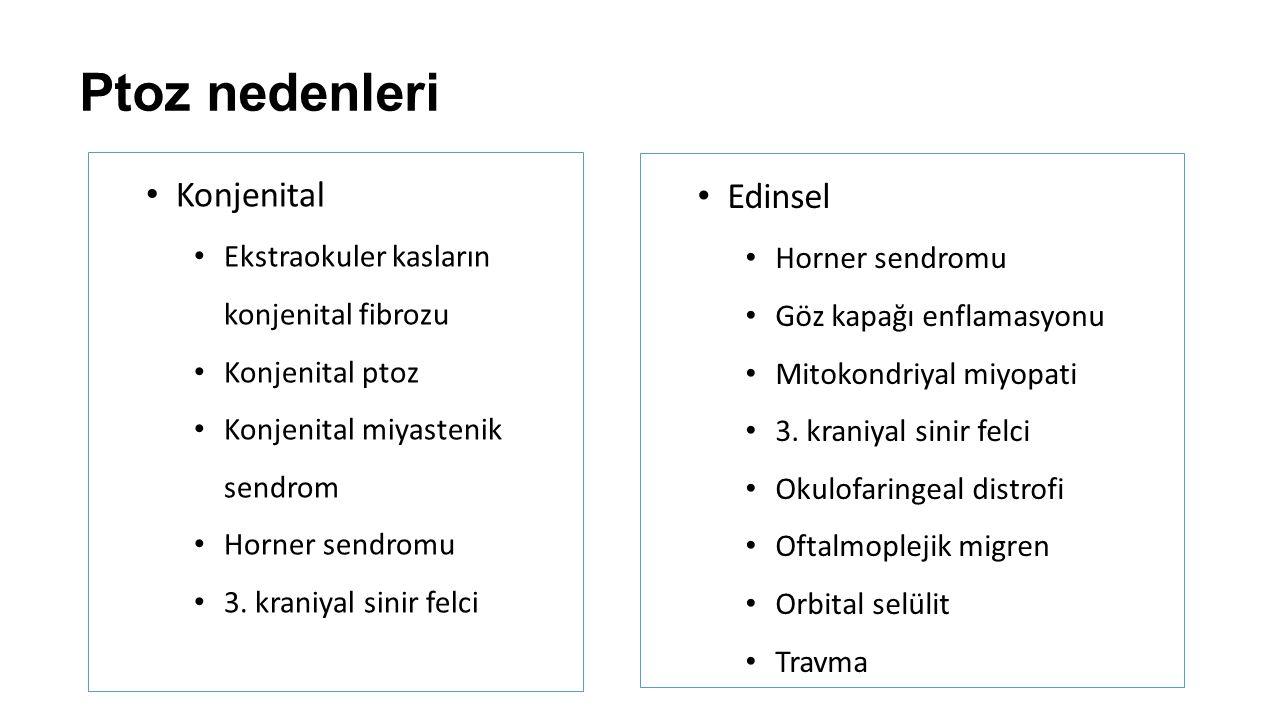 Ptoz nedenleri Konjenital Ekstraokuler kasların konjenital fibrozu Konjenital ptoz Konjenital miyastenik sendrom Horner sendromu 3. kraniyal sinir fel