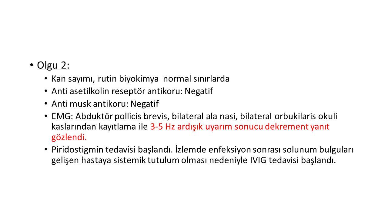 Olgu 2: Kan sayımı, rutin biyokimya normal sınırlarda Anti asetilkolin reseptör antikoru: Negatif Anti musk antikoru: Negatif EMG: Abduktör pollicis b