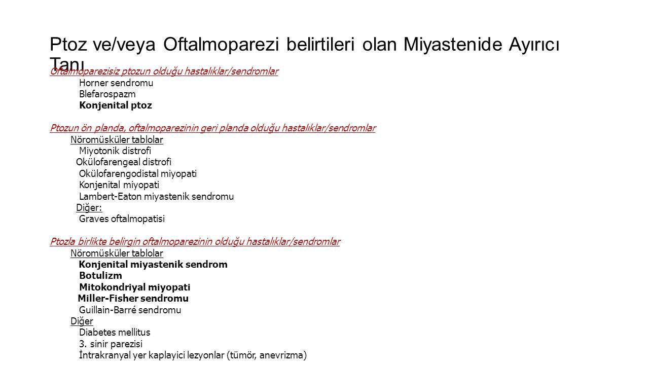 Ptoz ve/veya Oftalmoparezi belirtileri olan Miyastenide Ayırıcı Tanı Oftalmoparezisiz ptozun olduğu hastalıklar/sendromlar Horner sendromu Blefarospaz