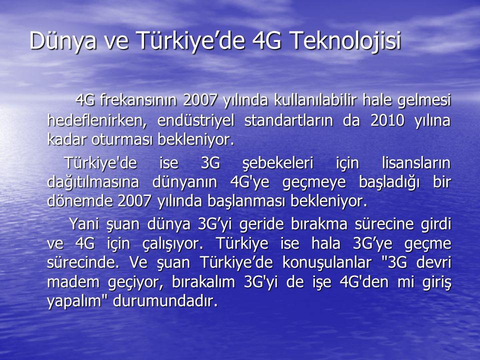Dünya ve Türkiye'de 4G Teknolojisi 4G frekansının 2007 yılında kullanılabilir hale gelmesi hedeflenirken, endüstriyel standartların da 2010 yılına kadar oturması bekleniyor.