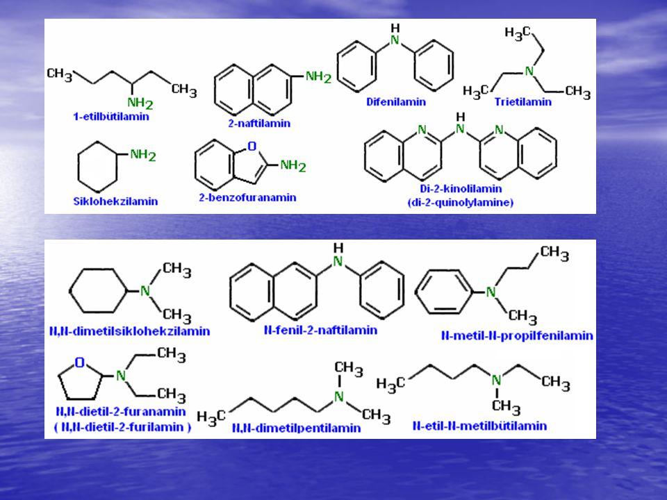Aminler Aminler eğer bir başka fonksiyonel gurup daha taşıyorsa molekülün adlandırılmasında amin son eki yerine molekülde bağlı olduğu karbon numarası ile birlikte amino (–NH 2 ) ön eki ile esas moleküle eklenir.