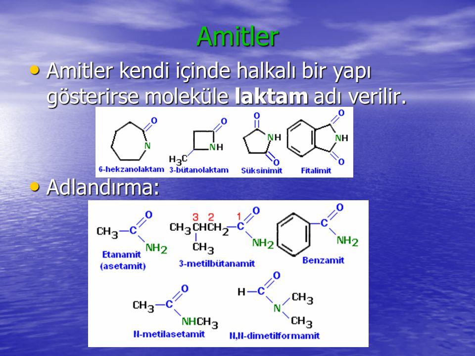 Amitlerin fiziksel ve kimyasal özellikleri: Amitler hidrojen bağları oluşturabildiklerinden kaynama noktaları molekül büyüklüğüne bağlı olarak artmak üzere oldukça yüksektir.