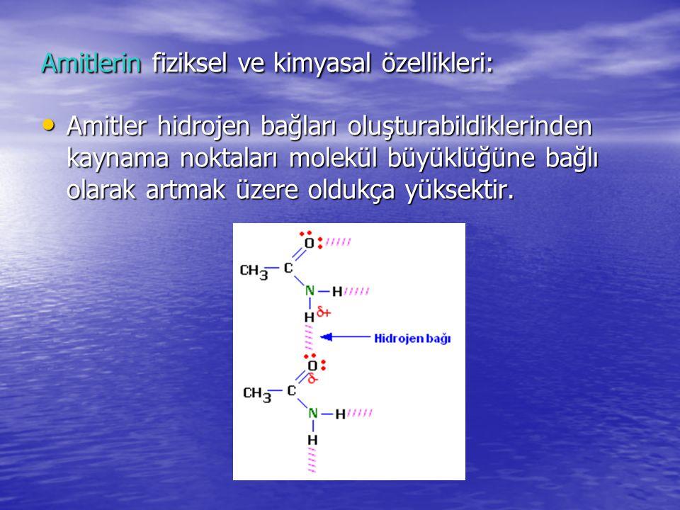 Amitlerin fiziksel ve kimyasal özellikleri: Amitler hidrojen bağları oluşturabildiklerinden kaynama noktaları molekül büyüklüğüne bağlı olarak artmak